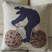 Bike Riding Print Decorative Pillow [108] : Cozyhere