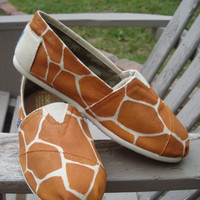 giraffe print-hand painted on TOMS shoes-made to order