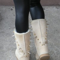 Cream Suede Leather Sheepskin Wool Lined Boots with Silver and Gold Spikes - Size 6 or 8
