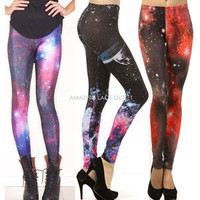 Galaxy Leggings Space Lightning Thunder Cosmic Print Fashion Tights Trend Pants