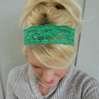 Emerald Isle green stretch lace headband feminine/romantic/classic