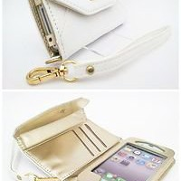 New White Wallet PU Leather Side Flip Case+Film For iPhone 4 4S Card Slot MSC144