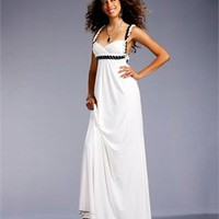 Spaghetti Strap Column crossing back white Long with Sequins Prom Dress PD1004