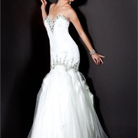sweatheart mermaid open back white Long with Sequins Prom Dress PD1041