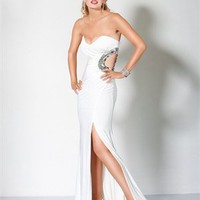 Sweetheart Column high slit open back white Long with Sequins Prom Dress PD1045