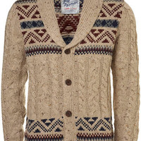 Cream Yoke Pattern Cable Knit Cardigan