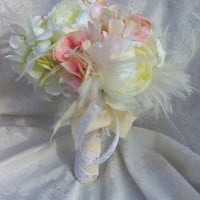 Shabby Chic Wedding Bouquet - Peony and Hydrangea Ivory and Blush Wedding Bouquet