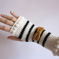 Striped fingerless gloves for women. Black and white crocheted hand warmers with mustard bow. Arm Warmers, mittens,  wrist warmers
