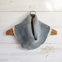 Ombre lace Neckwarmer, gray chunky cowl merino wool felt by Texturable