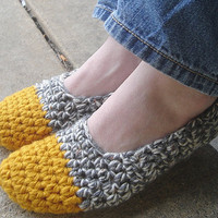 Made2Order Cozy Double Stranded Crochet Slippers House shoes in Mustard oatmeal and Charcoal