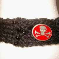 Pirate Choker with Red Skull and Bones