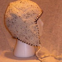 Ear Flap Hat with Brown Flecks and Blanket Stitch