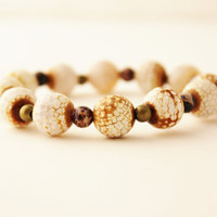 white gemstone bracelet agate bracelet stretch bracelet purple white and gold chunky bracelet boho