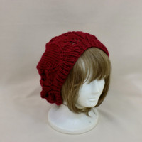 Red Slouchy Beanie Lace Hat Baggy Knit Large Slouch