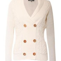 Double Buttons Elbow Patch Cardigan - by Pilot