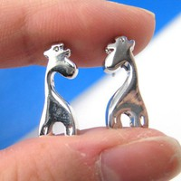 Simple Small Giraffe Silhouette Animal Stud Earrings in Silver