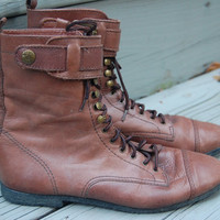 Vintage 80s 90s Mia Brown Rugged Cap Toe Military Lace Up Granny Grunge Strap Boots Size 5.5 M