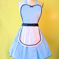 ALICE in WONDERLAND  .... Retro 50s Apron sexy hostess bridal shower gift and is vintage inspired womens flirty costume full aprons