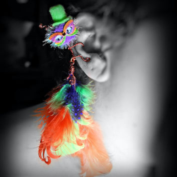 Masked Monster Ear Cuff - Mardi Gras, Wire Wrap, Critter, Pom Pom, Creature, Feathers, Neon Colors - Unique Jewelry for a Unique You
