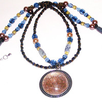 Egyptian necklace style blue and gold chandelier collar