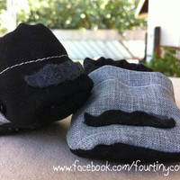 Baby Boy Soft Shoes with Mustache Gray and by fourtinycousins