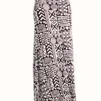 tribal-printed-maxi-skirt BLACKWHITE - GoJane.com