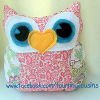 Small Owl Pillow Plush owl with Pink paisley by fourtinycousins