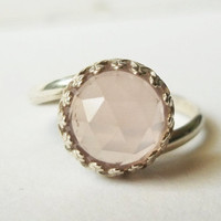 10mm Rose Quartz Ring, Handforged Sterling Silver Ring, Cocktail Ring, Pink Quartz, Pink Gemstone, Romantic Jewelry