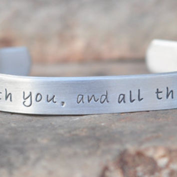 "One Direction inspired - hand stamped Bracelet with ""I'm in love with you, and all these little things"