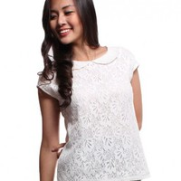 Peter Pan Collar Floral Lace Top