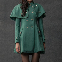Cape coat  green wool  coats for women