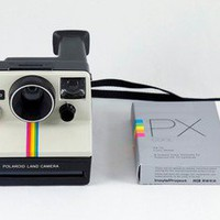 Polaroid One Step SX-70 White Rainbow Stripe Instant Land Camera w/ Film TESTED