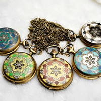 Vintage Colour Flower Rhinestone Locket Pocket Watch Necklace Antique Brass Fashion Jewelry