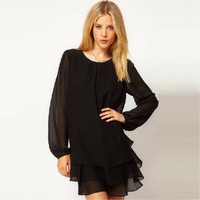 2012 New Style Three Layers Plain Chiffon Long Sleeve One-piece Dress ,Cheap in Wendybox.com