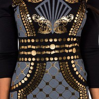 metallic-patterned-body-con-dress BLACK IVORY - GoJane.com