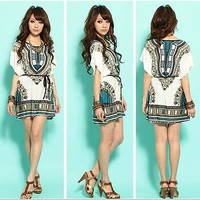 Lady Bohemian Ethnic Style Totem Print Loose Mini Dress Long Top S M #D8D