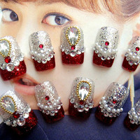 Red Fake Nails-kawaii DIY fake nail.princess.3D,jewelry nails/