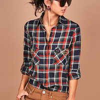 Tartan Stud Flannel | Plaid Tops at Pink Ice