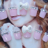 Fake Nails-Simple glamorous glitter 3D gyaru kawaii nails for simple life. More styles.