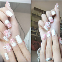 Nails-kawaii japanese gyaru fake nails art.wedding,birthday.pink and white.