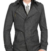 Doublju Mens Casual Wool PEA Herringbone Coat