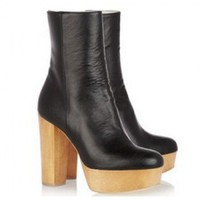 Stella McCartney Faux leather and wooden boots