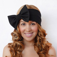 Turban Headband Bow Black Stretchy Bohemian Boho Hippie Hipster Style Kawaii Lolita Rockabilly Scene Girly Headwrap