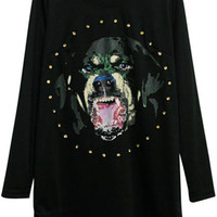ROMWE | Dog Face Black T-shirt Dress, The Latest Street Fashion