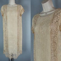 Vtg 70s 20s Nude SCALLOP SHEER LACE EMBROIDERED Boho Hippie MIDI Dress sz XS-S