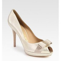 Salvatore Ferragamo Metallic Patent Leather Peep-Toe Bow Pumps