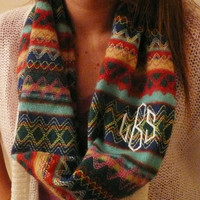 Monogrammed Infinity scarf,sweater knit infinity scarf, monogram included in the price