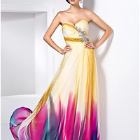 [USD $ 244.99] Sheath/Column Sweetheart Floor-length Chiffon Dress With Crystal Detailing