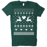 Womens Reindeer Tacky Ugly Christmas Sweater Short Sleeve T Shirt - American Apparel (Forest Green)