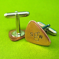 Personalized Monogram Guitar Pick Cufflinks - Custom Initial Guitar Pick cuff links hand stamped in brass, copper, or aluminum